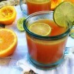 Orange Lime Sunrise Sparkler with Ginger + Raspberry Kombucha