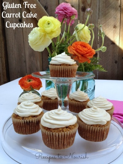 Gluten Free Carrot Cake Cupcakes with Cream Cheese Frosting | Recipes to Nourish