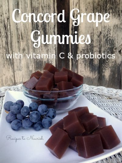 These healthy Concord Grape Gummies are made from sweet concord grapes and grass-fed gelatin ... a great alternative to store-bought fruit snacks.   Recipes to Nourish