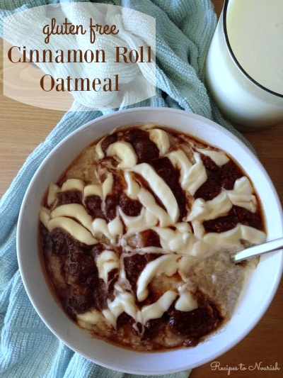 Cinnamon Roll Oatmeal ... delectable breakfast with soaked gluten free oats, no refined sugars + topped with cinnamon swirl + cream cheese glaze. | Recipes to Nourish
