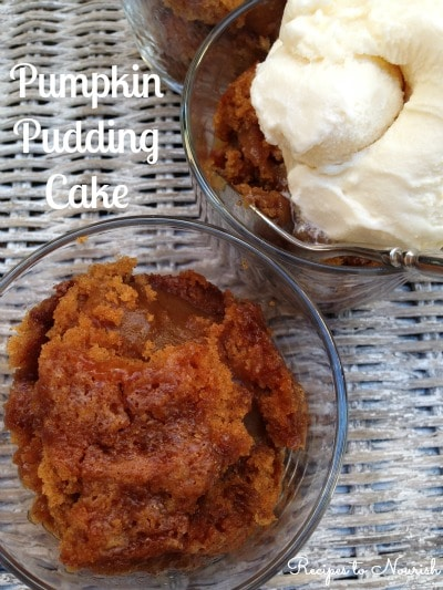 Gooey Pumpkin Pudding Cake ... this gluten-free dessert is out-of-this-world delicious! A yummy combo of cake, streusel topping + maple pumpkin pudding. | Recipes to Nourish