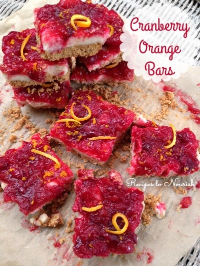 Cranberry Orange Bars ... sweet + tart with a buttery + flaky crust, these bars are a lovely addition to any holiday dessert table. | Recipes to Nourish