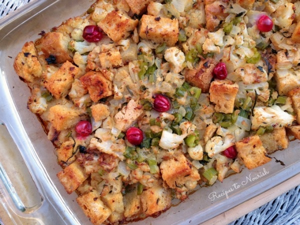 Gluten Free Stuffing ... this delicious + nourishing stuffing is truly special. It's full of sour dough, sautéed cauliflower, celery + cranberries. | Recipes to Nourish