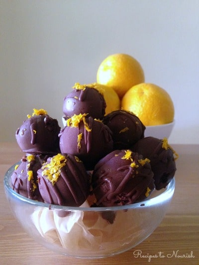 Chocolate Orange Truffles ... full of flavor, creamy, decadent + delicious! These grain free, nut free, real food truffles are so much fun to make! | Recipes to Nourish