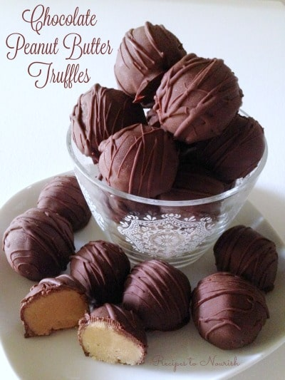 Chocolate Peanut Butter Truffles ... a fun + festive real food treat for the holidays - with healthier ingredients than Buckeyes or Peanut Butter Balls. | Recipes to Nourish