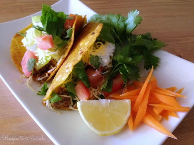 Grass-fed Beef Tacos are a staple in our home. These real food + authentic tacos are succulent, easy to make, budget-friendly and always a crowd pleaser. | Recipes to Nourish