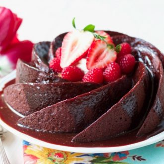 There's nothing better than a perfect, moist, healthy, Grain Free Chocolate Cake! This swoon-worthy, delicious cake is so easy to make and made with real food, Paleo-friendly ingredients. | Recipes to Nourish
