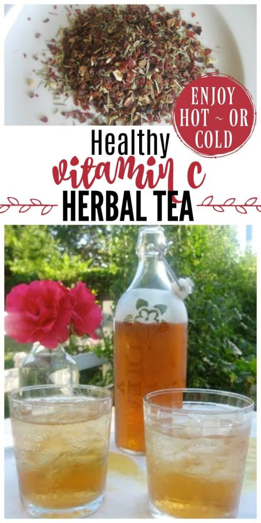 Bulk herbs and herbal tea in a glass jar and served over ice.