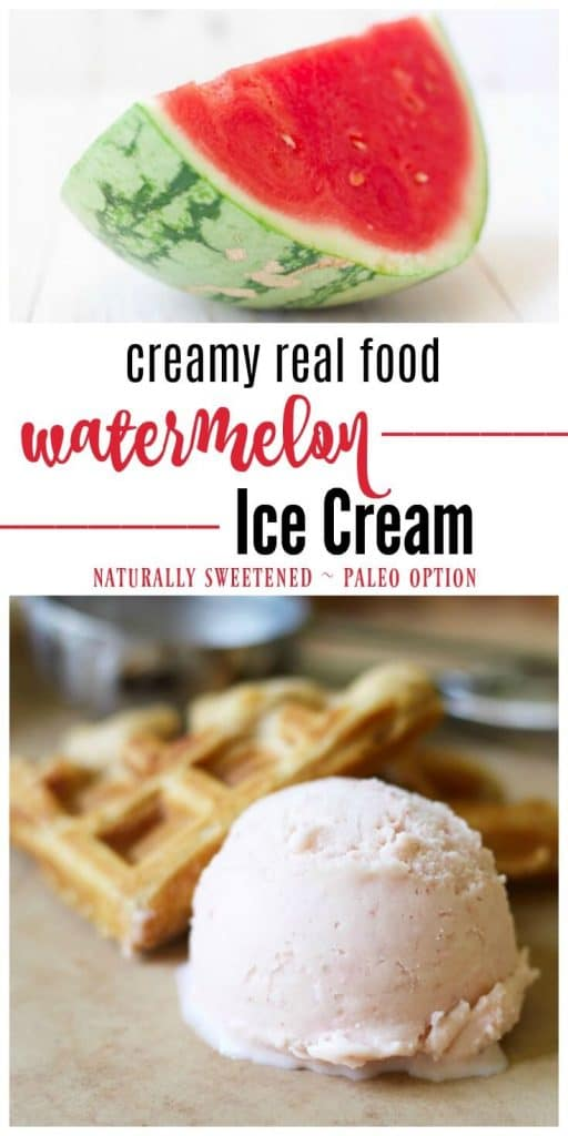 Creamy Real Food Watermelon Ice Cream is the perfect summer treat! This refreshing ice cream is naturally sweetened and simply delicious. | Recipes to Nourish