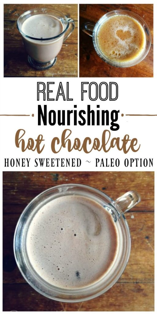 Nourishing Honey Sweetened Hot Chocolate ischocolaty and comforting like the old fashioned kind we allgrew up with. This version has lots of optional, wholesome and healthy add-ins. | Recipes to Nourish