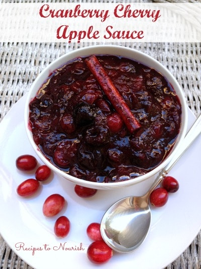 Cranberry Cherry Apple Sauce ... skip the canned cranberry sauce and make this amazing homemade version instead. {No Refined Sugar} | Recipes to Nourish