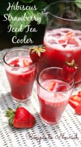 Hibiscus Strawberry Iced Tea Cooler | Recipes to Nourish