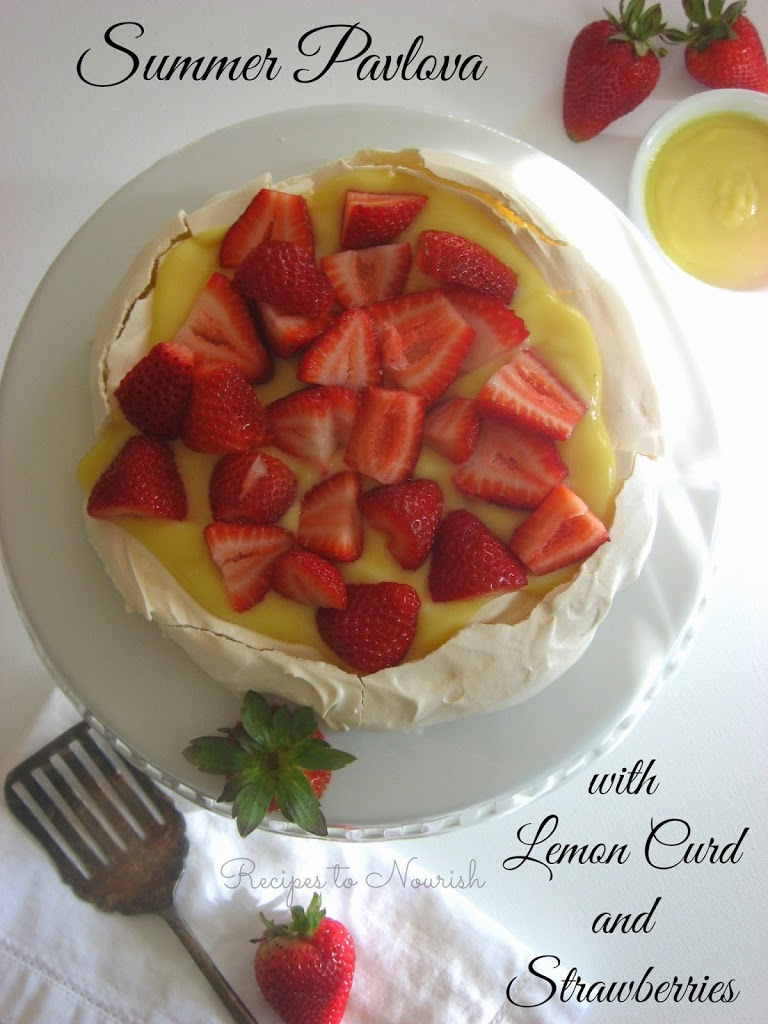 Summer Pavlova with Homemade Lemon Curd + Strawberries {Gluten-Free ...