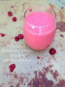 Coconut Raspberry Vanilla Smoothie with Kombucha :: Recipes to Nourish