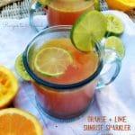 Orange and Lime Sunrise Sparkler with Ginger and Raspberry Kombucha | Recipes to Nourish