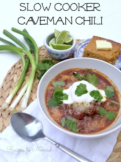 This delicious Slow Cooker Caveman Chili is packed with hearty, tender chunks of meat, lots of vegetables and a few special nourishing ingredients. | Recipes to Nourish