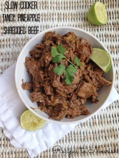 Sweet + savory, this slow cooker tangy pineapple shredded beef is so easy to make. No processed ingredients + no refined sugars. | Recipes to Nourish