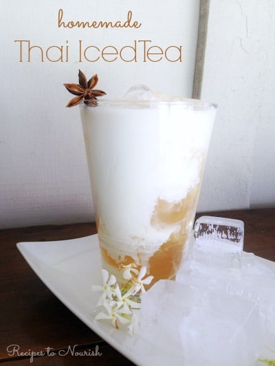 Thai iced tea over ice with star anise.