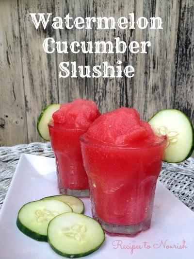 Watermelon Cucumber Slushie with cucumber slices.