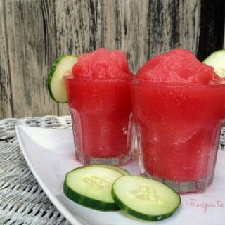 Watermelon cucumber slushie with cucumber slices.
