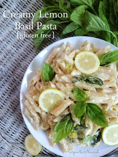 Creamy Lemon Basil Pasta ... full of delicious flavors and comes together in under 30 minutes. | Recipes to Nourish