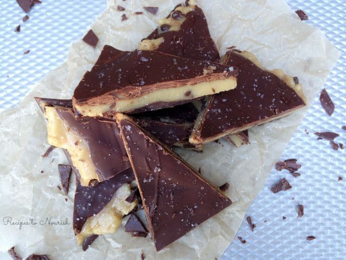 Sea Salted Cookie Dough Bark ... this grain-free homemade treat is out-of-this-world deliciously amazing! It's so good + super easy to make! | Recipes to Nourish