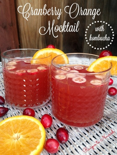 Cranberry Orange Mocktail ... sweet orange juice + bubbly probiotic-rich kombucha, a delicious festive drink for the holidays. | Recipes to Nourish