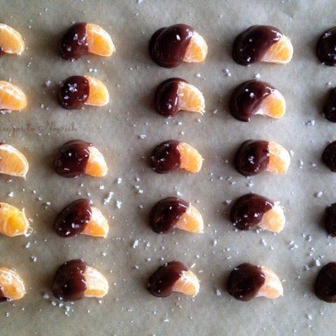 Chocolate dipped mandarin oranges.