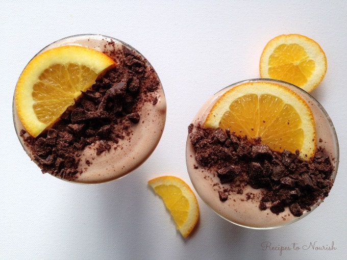 Chocolate Orange Smoothie ... refreshing, nutrient packed real food smoothie. The perfect healthier treat, snack or on-the-go drink.   Recipes to Nourish