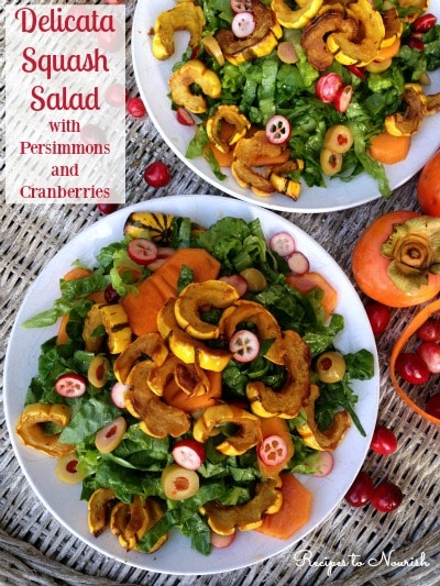 Delicata Squash Salad with Persimmons and Cranberries ... caramelized Delicata squash paired with seasonal fruit makes for one delicious salad! The perfect salad for the holidays or any meal. | Recipes to Nourish