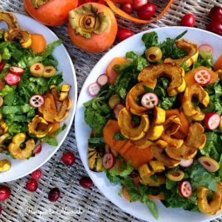 Delicata Squash Salad with Persimmons and Cranberries