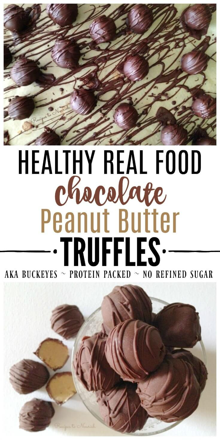 Healthy Real Food Chocolate Peanut Butter Truffles are a fun, protein-packed, festive treat for the holidays - with better ingredients than Buckeyes or Peanut Butter Balls.Perfect for Easter, Halloween & Christmas! | Recipes to Nourish // Gluten Free | Grain Free | Collagen | Dessert | Homemade Candy