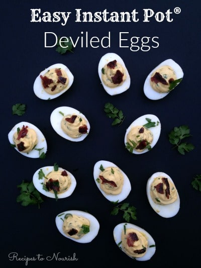 Easy Instant Pot Deviled Eggs ... the easiest hard boiled eggs method ever + a delicious real food Cilantro Lime Deviled Egg recipe {with NO mayo}. | Recipe to Nourish