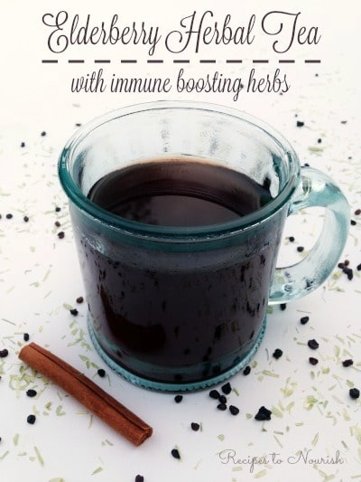 Elderberry Herbal Tea with Immune Boosting Herbs ... herbal tea infusions are nourishing for the body. This version tastes delicious + supports the immune system. | Recipes to Nourish