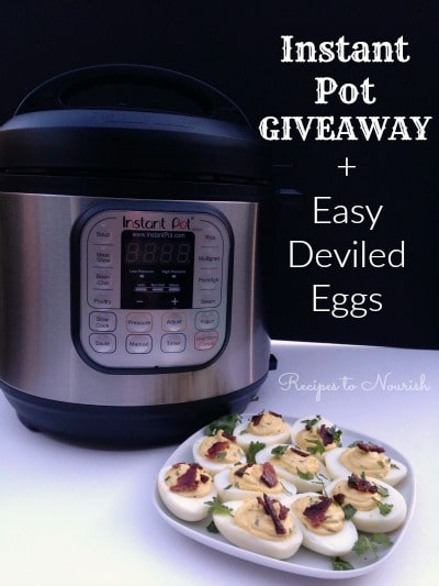 Instant Pot Giveaway + Easy Deviled Eggs ... the easiest hard boiled eggs method ever + a delicious real food Cilantro Lime Deviled Egg recipe {with NO mayo}. | Recipes to Nourish