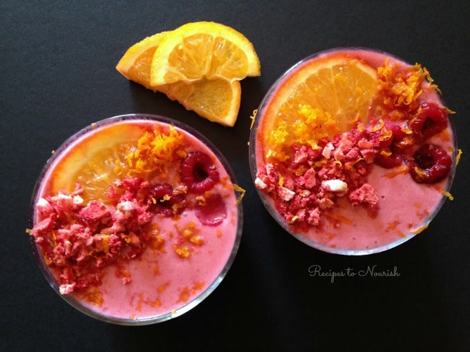 Nutrient Dense Raspberry Smoothie ... healthy, protein-rich, sweet + tangy smoothie with a special superfood ingredient + Over 50 Smoothie Recipes. | Recipes to Nourish