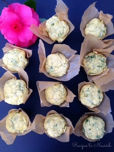 Spinach Artichoke Muffins ... these savory grain free muffins {made with some cassava flour} are a fun spin on the classic spinach artichoke dip.   Recipes to Nourish