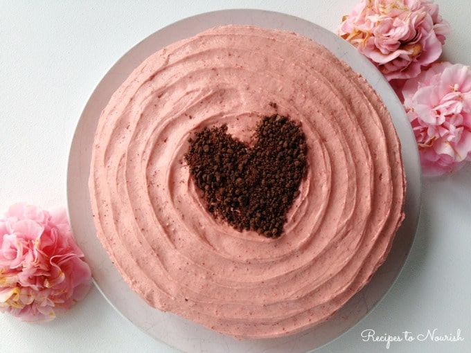 Strawberry Cake with Strawberry Frosting ... this delicious, grain-free cake is full of organic strawberries and packed with real food ingredients.   Recipes to Nourish