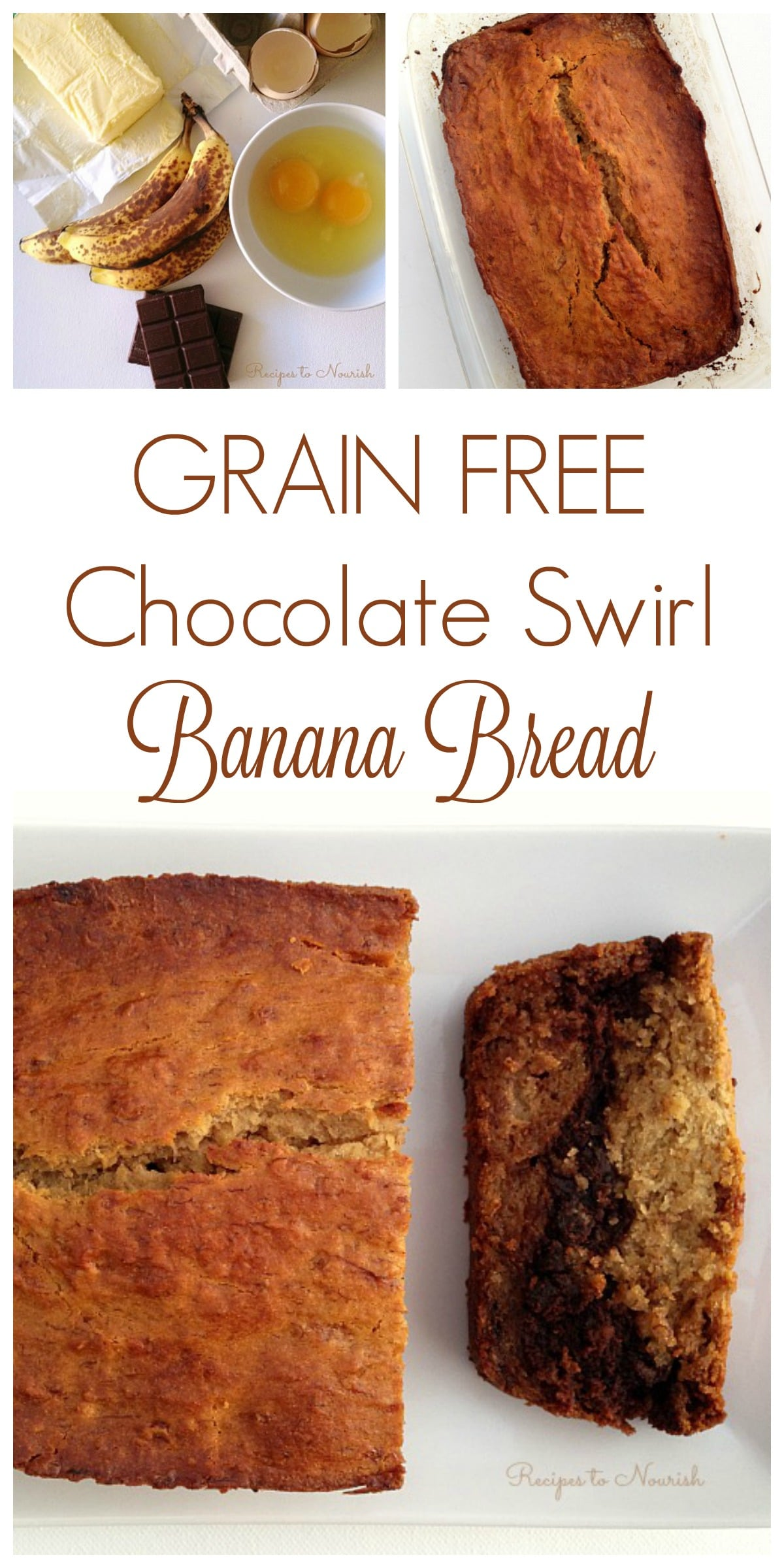 Grain Free Chocolate Swirl Banana Bread ... melted chocolate adds a rich, delicious layer to this classic real food quick bread. | Recipes to Nourish // Gluten Free | Healthy | Breakfast | Real Food