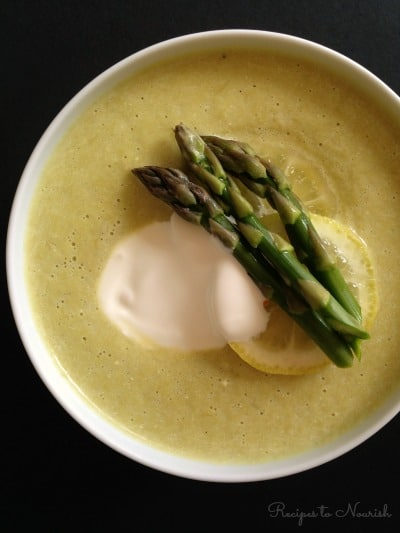 Instant Pot Cream of Asparagus Soup ... classic + simple, this spring inspired soup is so creamy and delicious. Bonus, it only takes minutes to cook. | Recipes to Nourish