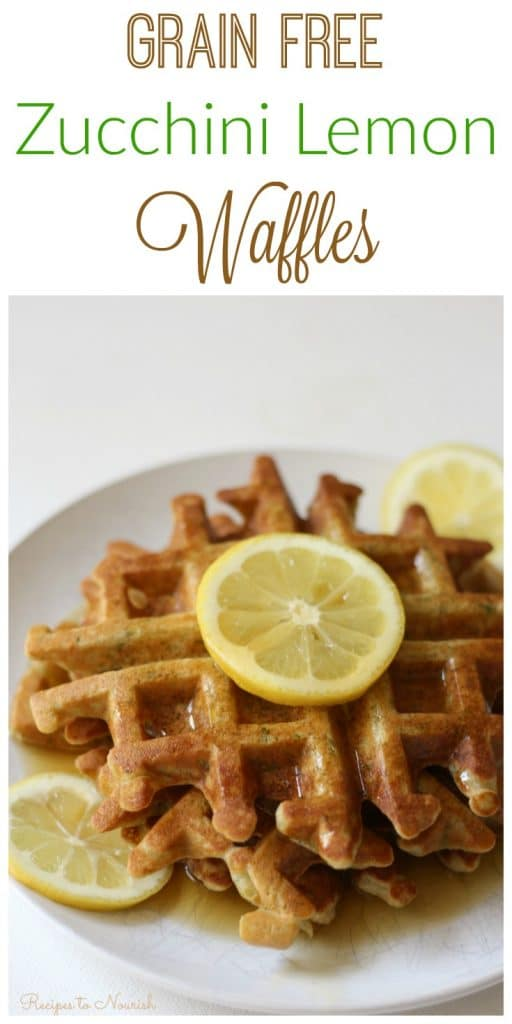 Grain Free Zucchini Lemon Waffles are a fun summertime breakfast. They're the perfect blend of savory and sweet, super easy to make and a delicious way to use up summer squash. | Recipes to Nourish