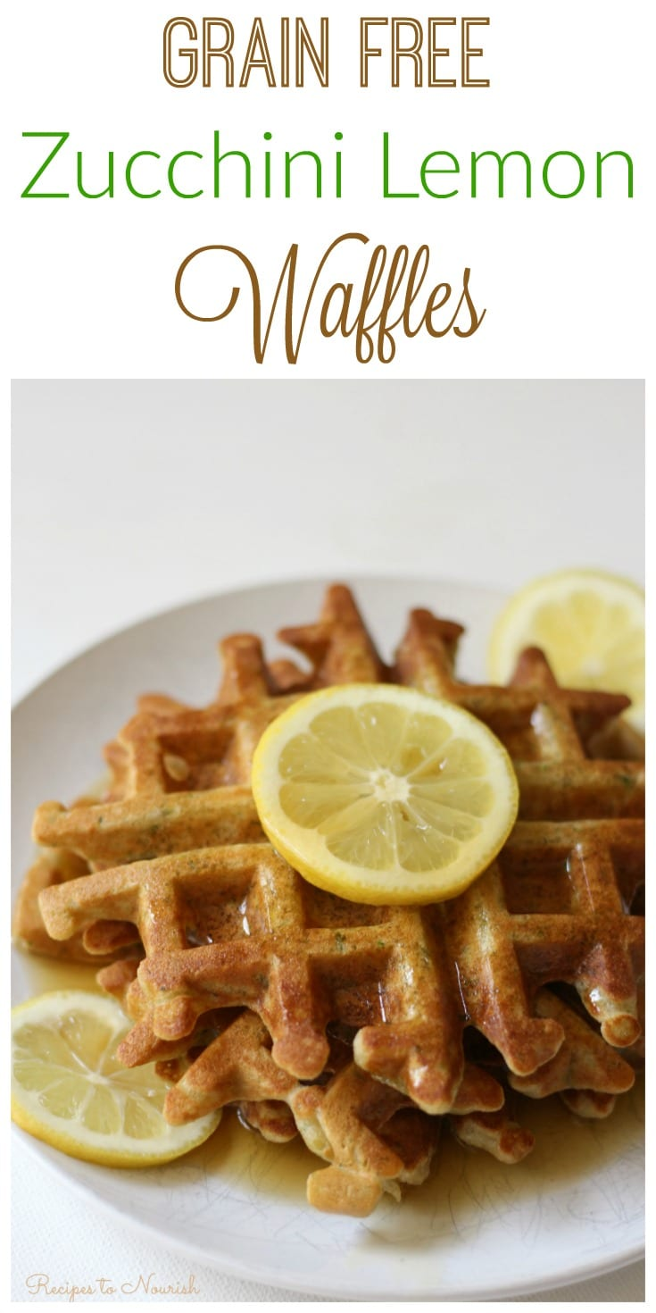 Grain Free Zucchini Lemon Waffles are a fun summertime breakfast. They're the perfect blend of savory and sweet, super easy to make and a delicious way to use up summer squash. | via Recipes to Nourish | Grain Free Recipe | Gluten Free Recipe | Breakfast Recipe | Zucchini Recipe