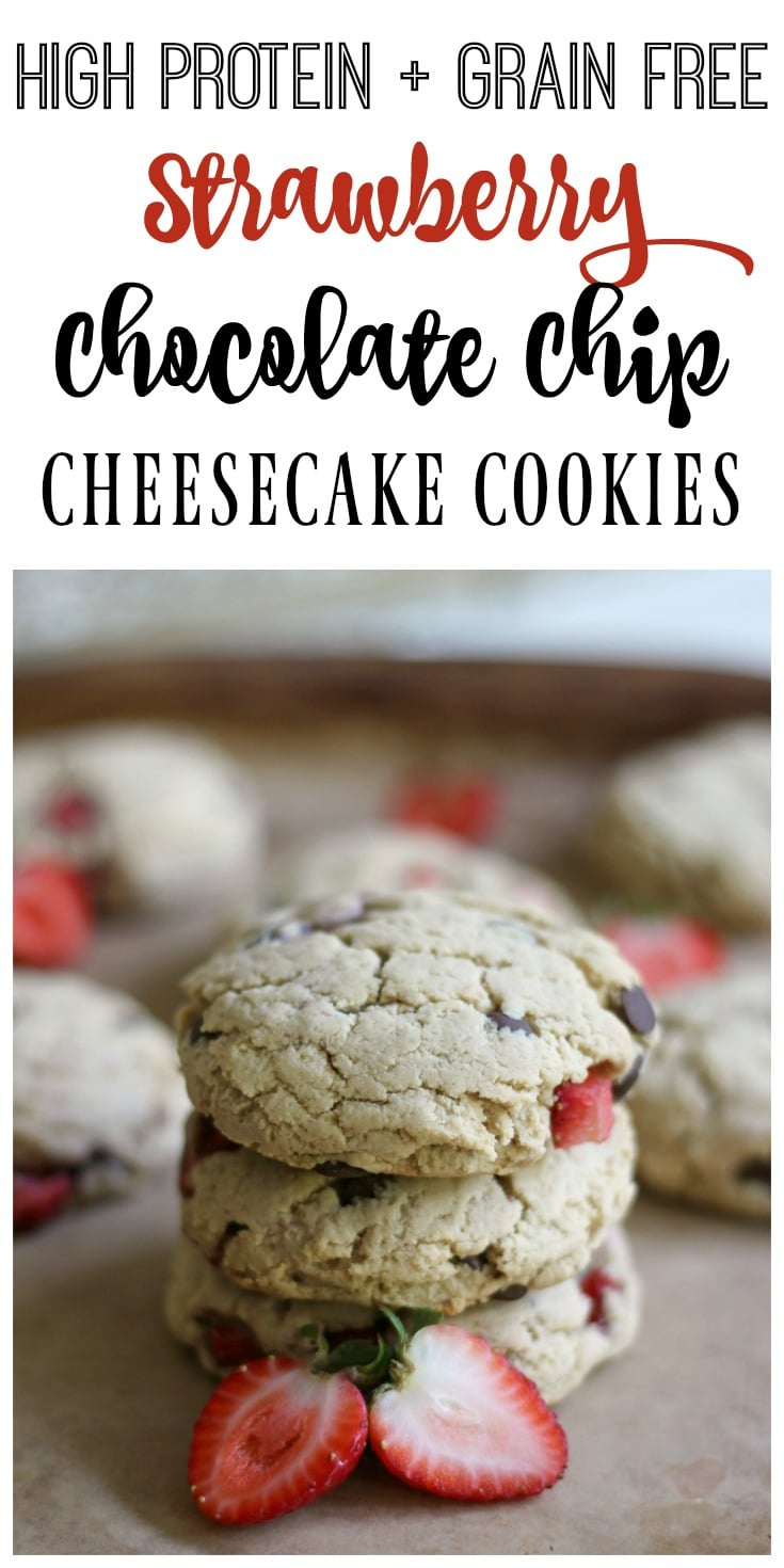 These high protein, grain free, real food Strawberry Chocolate Chip Cheesecake Cookies are so soft and delicious! They're the perfect comfort food treat! | Recipes to Nourish // Grain Free Recipes | Grain Free Cookies | Grain Free Cookie Recipes | Gluten Free Recipes | Gluten Free Cookies | Gluten Free Cookie Recipes | Grain Free Chocolate Chip Cookies | Gluten Free Chocolate Chip Cookies