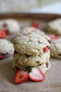 Strawberry Chocolate Chip Cheesecake Cookies :: Recipes to Nourish