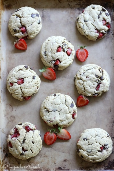 These high protein, grain free, real food Strawberry Chocolate Chip Cheesecake Cookies are so soft and delicious! They're the perfect comfort food treat!   Recipes to Nourish
