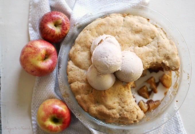 Grain Free Apple Cobbler is such a special fall treat. This humble comfort food is naturally sweetened, perfectly spiced and full of apples galore. | Recipes to Nourish