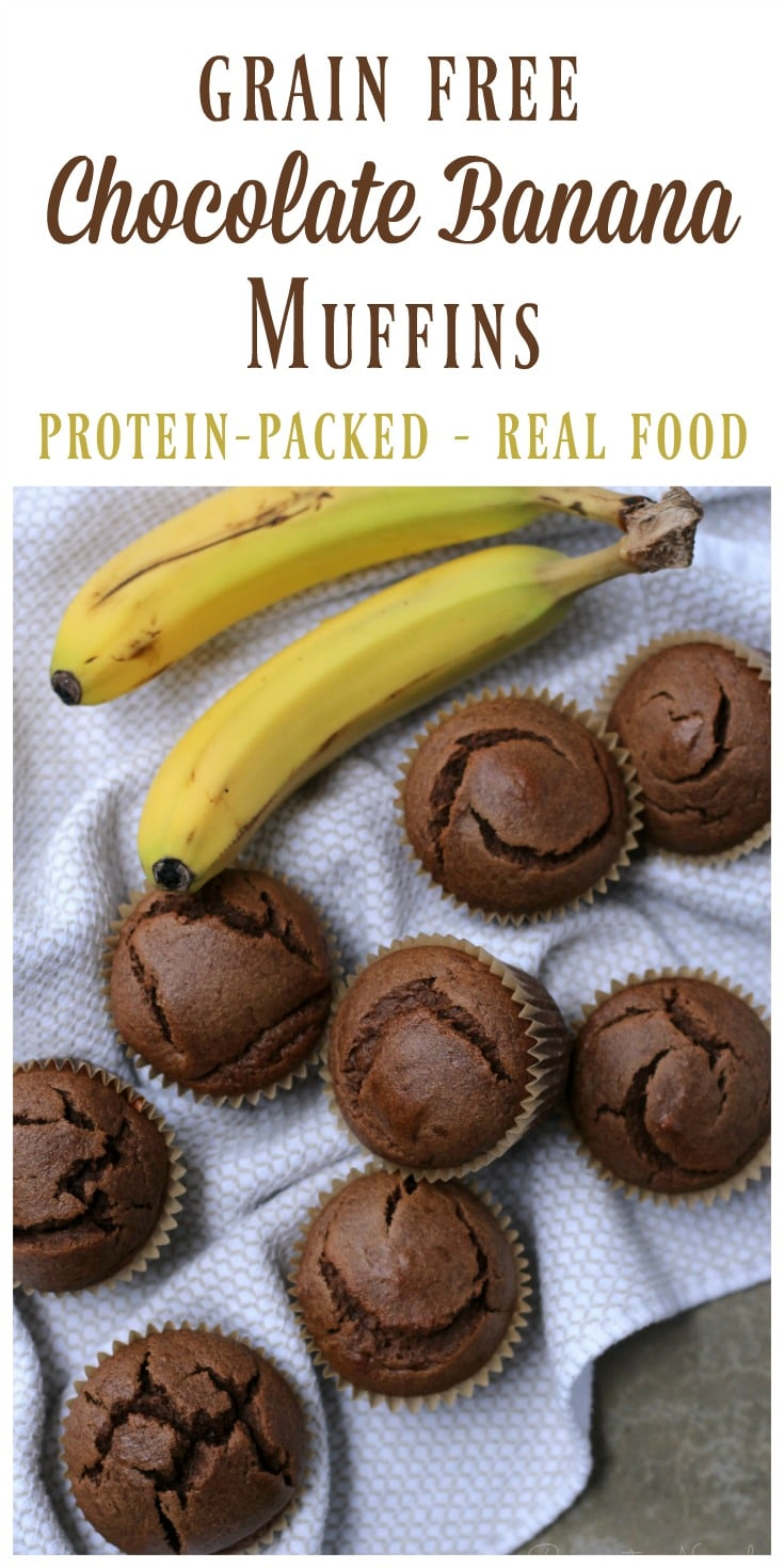 Chocolate and bananas are meant to go together! These soft, protein-rich, grain free chocolate banana muffins are full of that irresistible chocolaty banana flavor. They're super easy to make in the blender and they're freezer friendly too! | Recipes to Nourish
