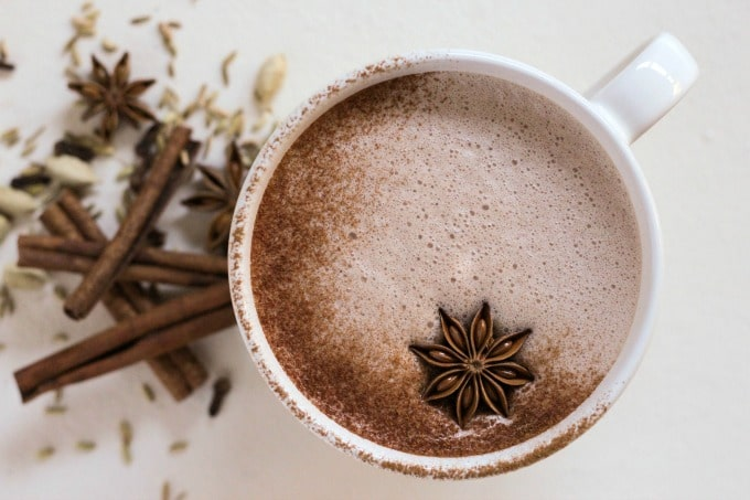 Real Food Chai Hot Chocolate is the perfect warming drink on a cold day. This hot, creamy, nourishing drink is protein-rich, fragrant, sweet and slightly spicy with hints of cardamom, cinnamon, fennel, ginger and more. | Recipes to Nourish