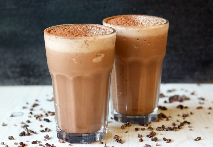 This Chocolate Peanut Butter Protein Shake is a chocolate lovers dream come true. Delicious, thick and creamy, it's Paleo-friendly, made with real food ingredients and packed with a special nourishing protein-rich boost. | Recipes to Nourish