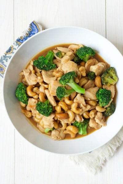 Bowl of broccoli cashew chicken.